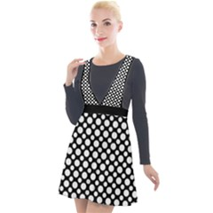 Dot Dots Dotted 2 Black Black Plunge Pinafore Velour Dress