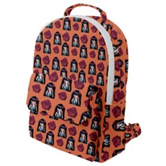 Girl Flower Pattern Apricot Flap Pocket Backpack (small)