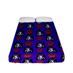 Girl Flower Pattern Royal Blue Fitted Sheet (full/ Double Size)