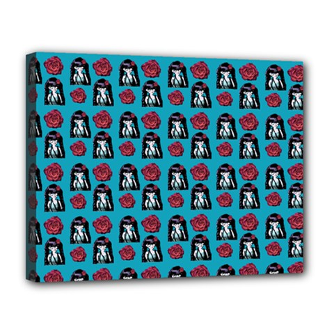 Girl Flower Pattern Blue Canvas 14  X 11  (stretched)