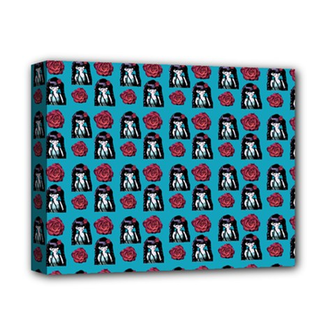 Girl Flower Pattern Blue Deluxe Canvas 14  X 11  (stretched) by snowwhitegirl