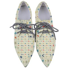 Clouds And Umbrellas Seasons Pattern Women s Pointed Oxford Shoes