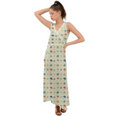 Clouds And Umbrellas Seasons Pattern V Neck Chiffon Maxi Dress