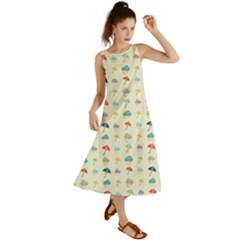 Clouds And Umbrellas Seasons Pattern Summer Maxi Dress