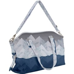 Snow Mountains Sea Sun Landscape Canvas Crossbody Bag