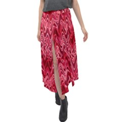 Background Abstract Surface Red Velour Split Maxi Skirt