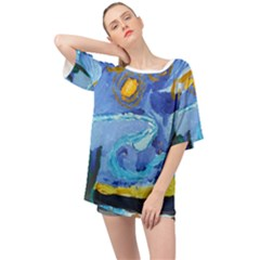 Painting Illustrations Vincent Van Gogh Oversized Chiffon Top