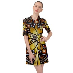 Spain Catalonia Montserrat Church Belted Shirt Dress