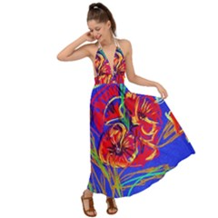 Poppies Backless Maxi Beach Dress
