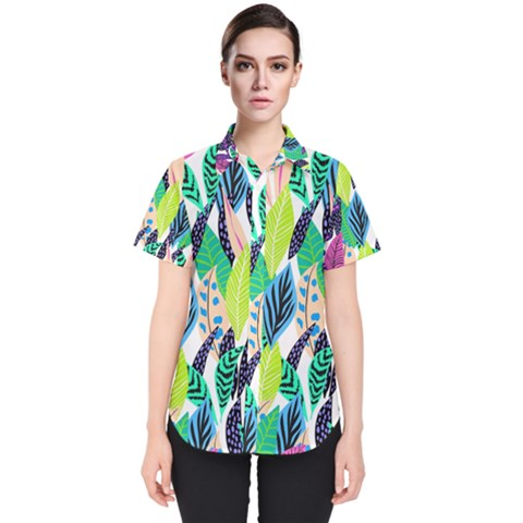 Leaves  Women s Short Sleeve Shirt by Sobalvarro