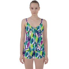 Leaves  Tie Front Two Piece Tankini by Sobalvarro