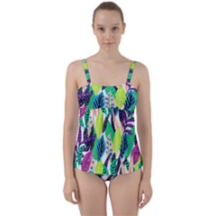 Leaves  Twist Front Tankini Set by Sobalvarro