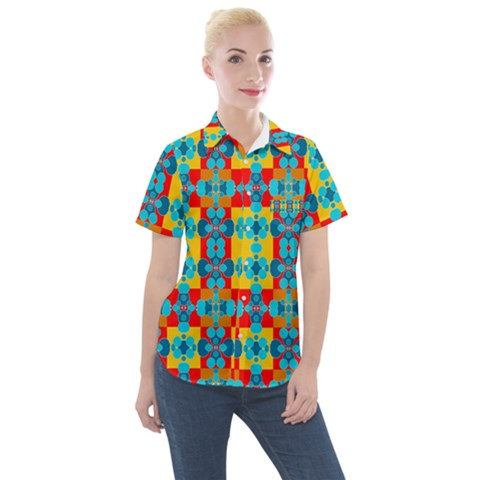 Pop Art  Women s Short Sleeve Pocket Shirt by Sobalvarro
