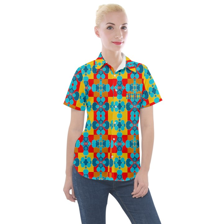 Pop Art  Women s Short Sleeve Pocket Shirt