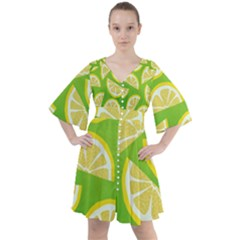 Lemon Fruit Healthy Fruits Food Boho Button Up Dress
