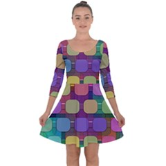 Pattern  Quarter Sleeve Skater Dress by Sobalvarro