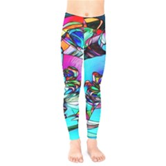 Abstract Flower Painting Kids  Leggings by Wegoenart