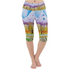Mendoza Argentina Field Nature Lightweight Velour Cropped Yoga Leggings