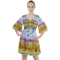 Mendoza Argentina Field Nature Boho Button Up Dress