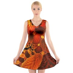 Leaf Autumn Nature Background V Neck Sleeveless Dress by Wegoenart