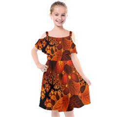 Leaf Autumn Nature Background Kids  Cut Out Shoulders Chiffon Dress by Wegoenart