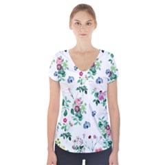 Leaves Short Sleeve Front Detail Top