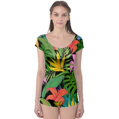 Tropical Greens Boyleg Leotard