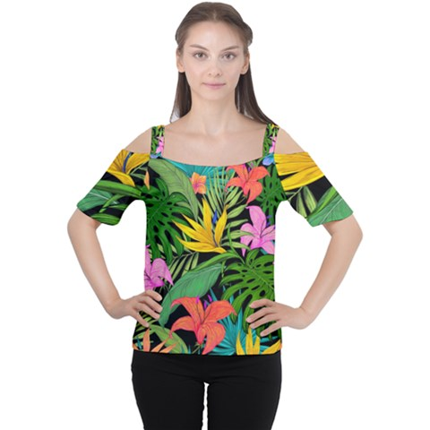 Tropical Greens Cutout Shoulder Tee by Sobalvarro
