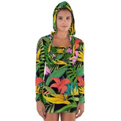 Tropical Greens Long Sleeve Hooded T-shirt by Sobalvarro