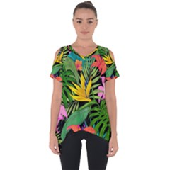 Tropical Greens Cut Out Side Drop Tee by Sobalvarro