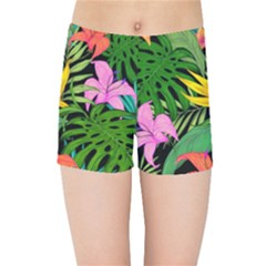 Tropical Greens Kids  Sports Shorts by Sobalvarro