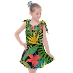 Tropical Greens Kids  Tie Up Tunic Dress by Sobalvarro