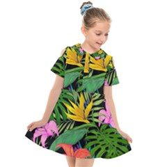 Tropical Greens Kids  Short Sleeve Shirt Dress by Sobalvarro