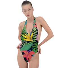 Tropical Greens Backless Halter One Piece Swimsuit by Sobalvarro