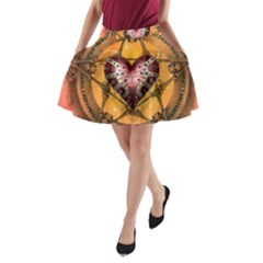 Awesome Heart On A Pentagram With Skulls A-line Pocket Skirt by FantasyWorld7