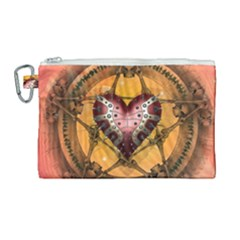 Awesome Heart On A Pentagram With Skulls Canvas Cosmetic Bag (large) by FantasyWorld7