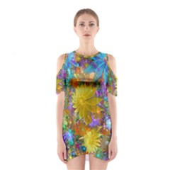 Apo Flower Power  Shoulder Cutout One Piece Dress by WolfepawFractals