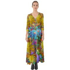 Apo Flower Power  Button Up Boho Maxi Dress by WolfepawFractals