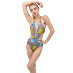 Apo Flower Power  Plunging Cut Out Swimsuit by WolfepawFractals