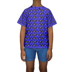 Retro Girl Daisy Chain Pattern Blue Kids  Short Sleeve Swimwear