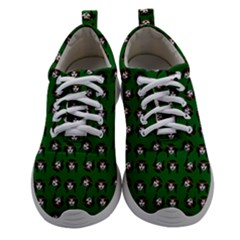 Retro Girl Daisy Chain Pattern Green Women Athletic Shoes