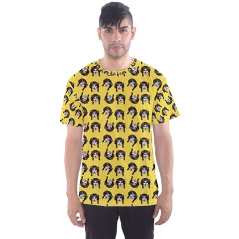 Retro Girl Daisy Chain Pattern Yellow Men s Sports Mesh Tee by snowwhitegirl