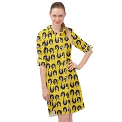 Retro Girl Daisy Chain Pattern Yellow Long Sleeve Mini Shirt Dress by snowwhitegirl
