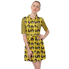 Retro Girl Daisy Chain Pattern Yellow Belted Shirt Dress by snowwhitegirl