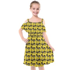 Retro Girl Daisy Chain Pattern Yellow Kids  Cut Out Shoulders Chiffon Dress by snowwhitegirl