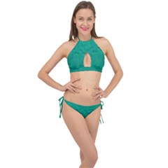 Love To One Color To Love Green Cross Front Halter Bikini Set