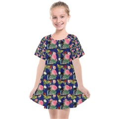 Vintage Can Floral Blue Kids  Smock Dress