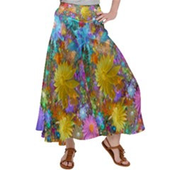 Apo Flower Power Satin Palazzo Pants by WolfepawFractals