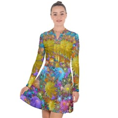 Apo Flower Power Long Sleeve Panel Dress by WolfepawFractals