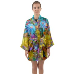 Apo Flower Power Long Sleeve Satin Kimono by WolfepawFractals